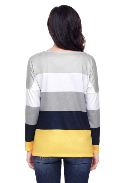 Chicloth Black Yellow Colorblock Pocket Pullover Tunic Top