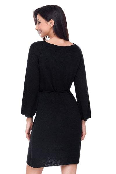 Chicloth Black Off The Shoulder Knit Sweater Dress