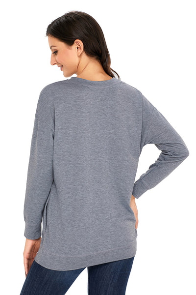 A| Chicloth Grey Casual Pocket Style Women'S Sweatshirt-Coats-Chicloth