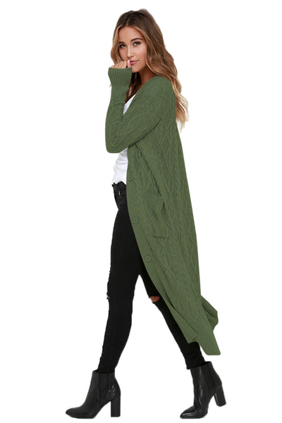 Chicloth Army Green Cable Knit Long Cardigan