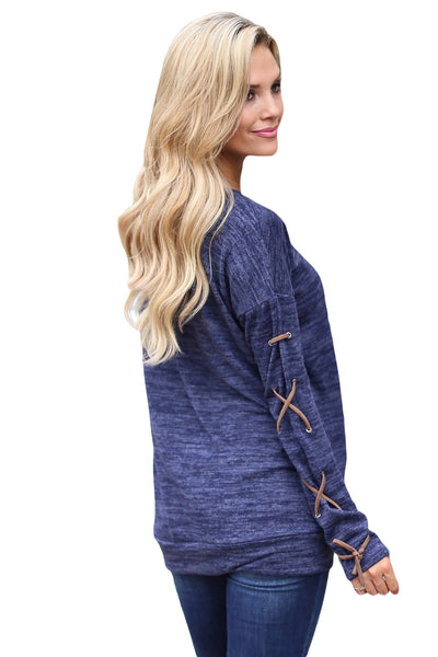 Chicloth Blue Lace up Sleeve Front Pocket Women?¡¥s Casual Top