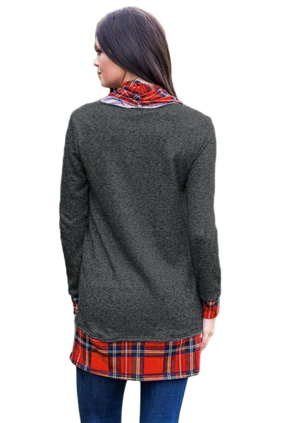 Chicloth Black Autumn Wind Plaid Cowl Neck Tunic