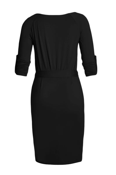 Chicloth Black Roll-tab Long Sleeve Tie Waist Midi Dress