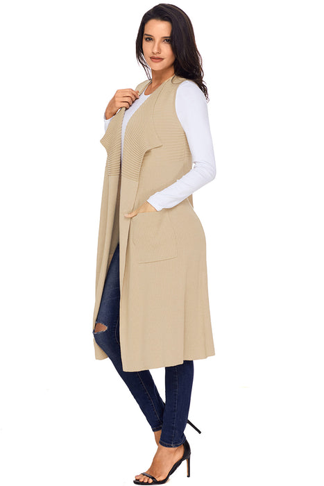 A| Chicloth Khaki Pocket Long Cardigan Vest-Sweaters-Chicloth