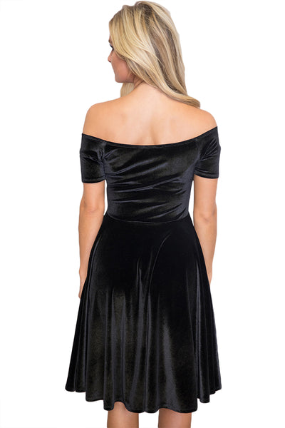 Chicloth Black Velvet Off Shoulder Pleated Midi Dress