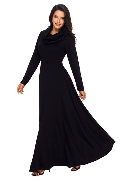 Chicloth Black Cow Neck Long Sleeve Maxi Dress