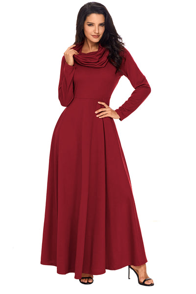 Chicloth Burgundy Cow Neck Long Sleeve Maxi Dress