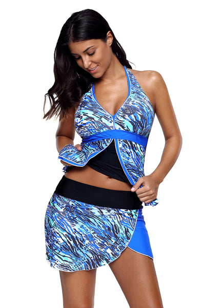 Chicloth Abstract Sea Wave Print Tankini Culotte Swimsuit