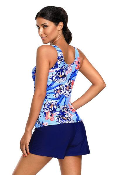 Chicloth Blue Coral Floral Print Tankini and Short Swimsuit-Sexy Swimwear||Tankinis-Chicloth