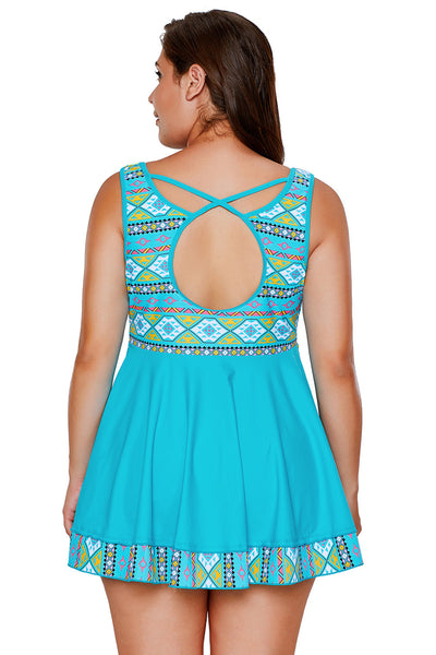 Chicloth Blue Tribal Print Accent Swimdress and Short Set