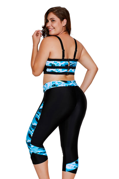 Chicloth Aquatic Print Accent Crop Top&Capris Swimsuit