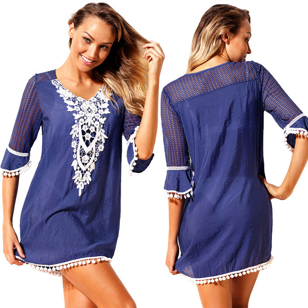 A| Chicloth Blue Crochet Pom Pom Trim Beach Tunic Cover Up
