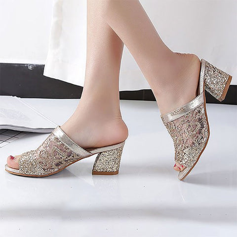 Chicloth Chunky Heel Lace Mesh Peep Toe Slippers