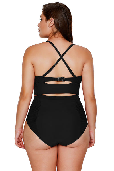 A| Chicloth Black Strappy Neck Detail High Waist Swimsuit-Bikinis-Chicloth