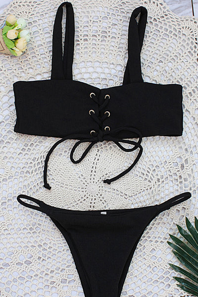 Chicloth New Beachwear Spaghetti Strap Tankini Front Tie Cross Sexy Women Bodysuit