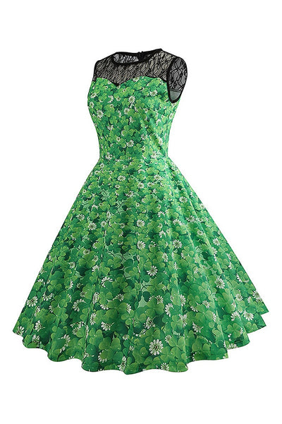 B| Chicloth Summer Vintage Dress Retro Clover Printed Women Dress - Chicloth