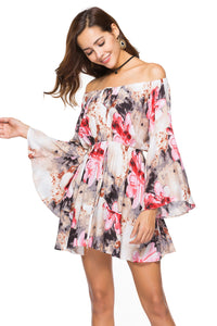 B| Chicloth Summer Printed Dress Elastic Waistband Off the Shoulder Sweep Train Dress-Chicloth