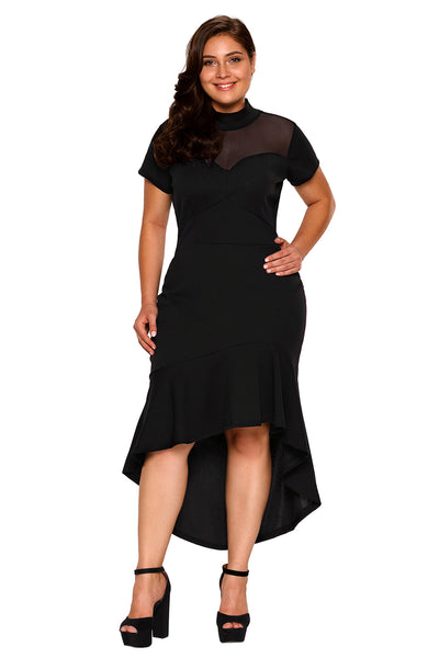 A| Chicloth Black Mesh Insert Ruffled Hi-Low Hem Curvy Dress