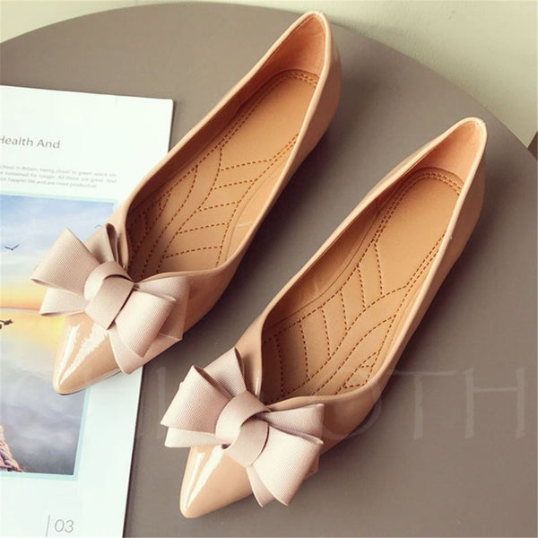 A| Chicloth Bowknot Summer Pointed Toe Flats-Chicloth
