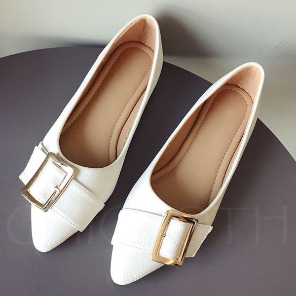 A| Chicloth Buckle Daily Summer Pointed Toe Flats