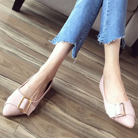 A| Chicloth Buckle Daily Summer Pointed Toe Flats-Chicloth