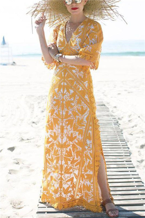 B| Chicloth Bohemia V-neck Split-side Maxi Dress-Maxi Dresses-Chicloth