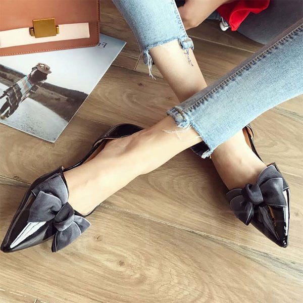 A| Chicloth Bowknot PU Pointed Toe Flats