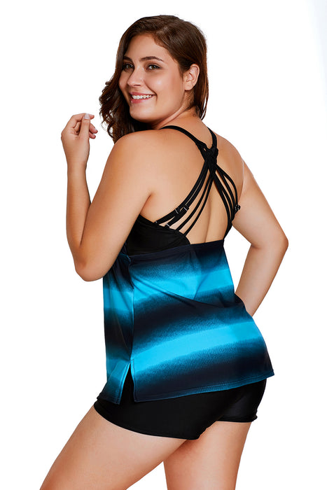 A| Chicloth Bluish Strappy Hollow-Out Back Plus Size Tankini-Plus Size Swimsuits-Chicloth