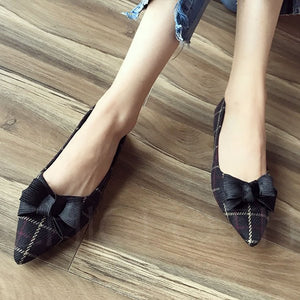 A| Chicloth Checkered Bowknot Daily Pointed Toe Flats