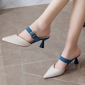 Chicloth Buckle Spool Heel PU Pointed Toe Women Slippers