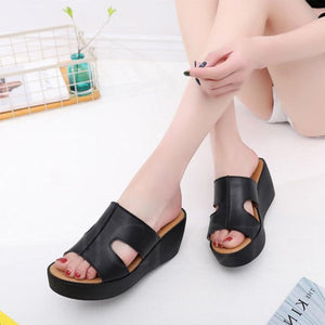 Chicloth Daily PU Hollow-out Peep Toe Summer Wedge Slippers