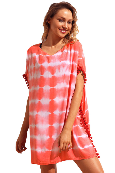 Z|Chicloth Coral Pom Pom Trim Tie Dye Print Beach Cover Up-Chicloth