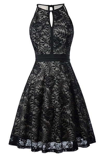 AA| Chicloth Women's Halter Floral Lace Cocktail Party Dress Homecoming Dress(In Stock)-Chicloth