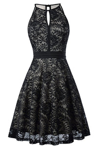 AA| Chicloth Women's Halter Floral Lace Cocktail Party Dress Homecoming Dress-Chicloth