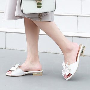 Chicloth Bowknot Summer Daily PU Peep Toe Slippers