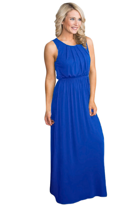 Z| Chicloth Royal Blue Empire Waist Sleeveless Maxi Jersey Dress-Chicloth