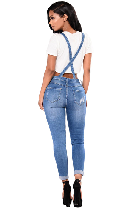 Z| Chicloth Light Blue Denim Laidback Distressed Overalls-Chicloth
