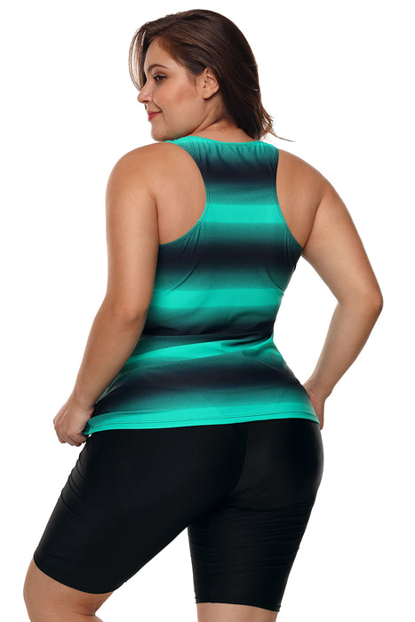 A| Chicloth Green Black Ombre Print Racerback Tankini Swimsuit-Tankinis-Chicloth