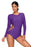Z| Chicloth Dark Purple Long Sleeve Strappy Hollow-out One-piece Surf Swimsuit-Chicloth