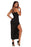 A| Chicloth Black Side Slit Lace Trim Party Dress-Maxi Dresses-Chicloth