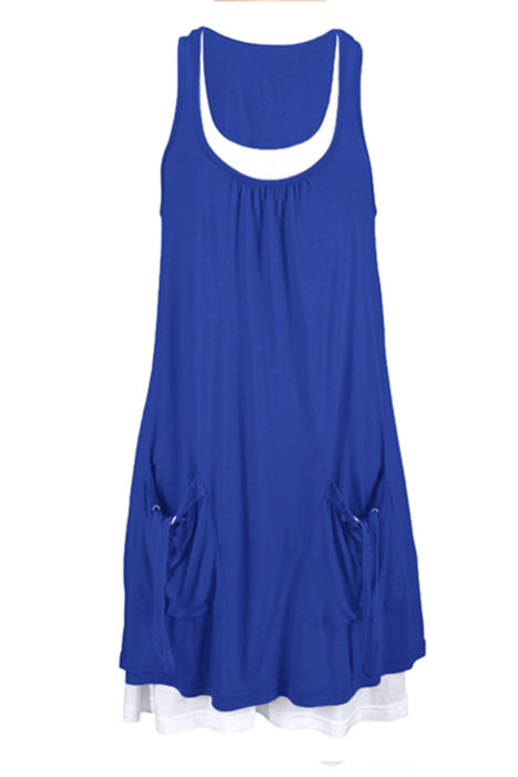 Z| Chicloth Royal Blue Lace-Up Pockets Sleeveless Shirt Dress-Chicloth
