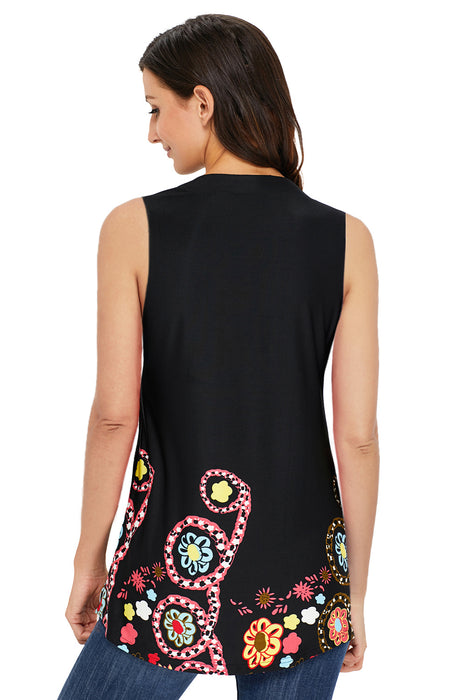 Z| Chicloth Cute Floral Print Black Ruched Tank Top-Chicloth