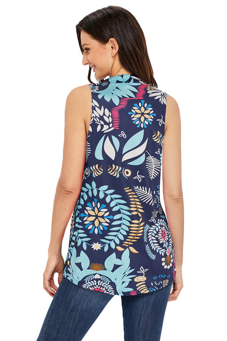 Z| Chicloth Multi Leafy Print Ruched Tank Top-Chicloth