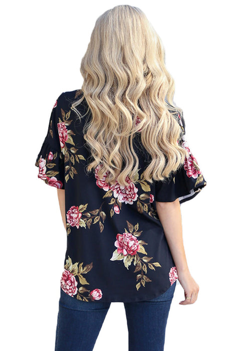 Z| Chicloth Blush Peony Blossom Black Tie Front Blouse-Chicloth