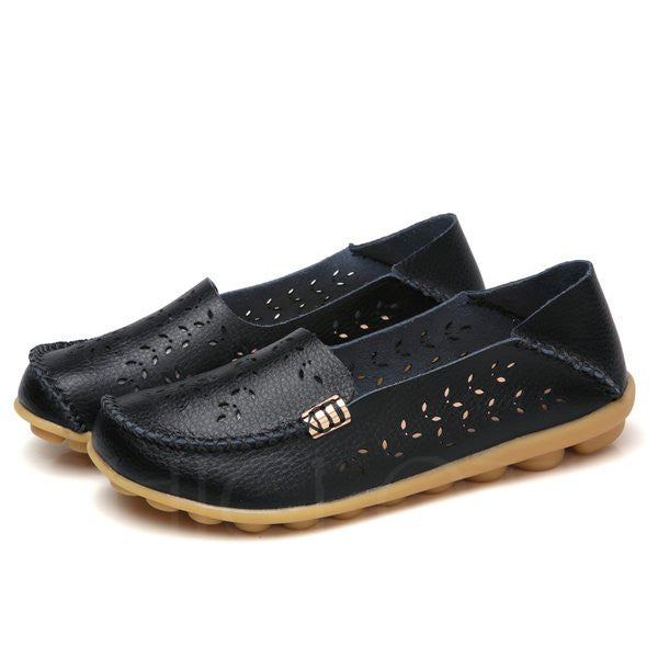 A| Chicloth Hollow-out Leather Round Toe Flats