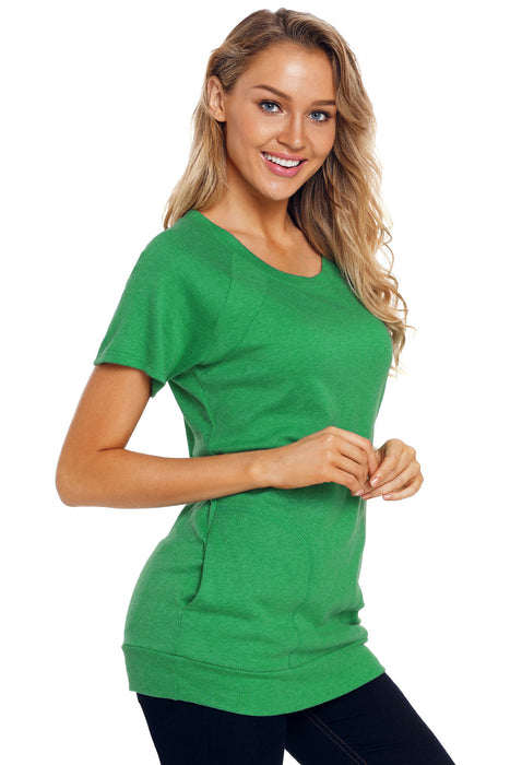 Z| Chicloth Green Heathered Short Sleeve Pocket Tee-Chicloth