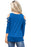 Z| Chicloth Royal Blue Crisscross Cold Shoulder Quarter Sleeve Blouse-Chicloth