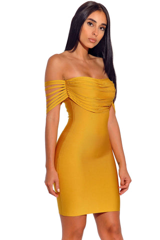 B| Chicloth Mustard Strappy Detail Off Shoulder Bandage Dress