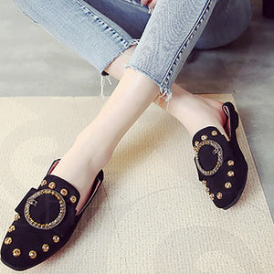 A| Chicloth Lady Daily Suede Rivet Round Toe Flats-Chicloth