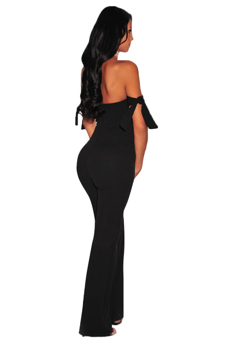 C| Chicloth Black Off Shoulder Tie Knot Strapless Jumpsuit-Chicloth